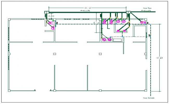 Office washroom sanitary and plumbing water pipeline detail dwg file