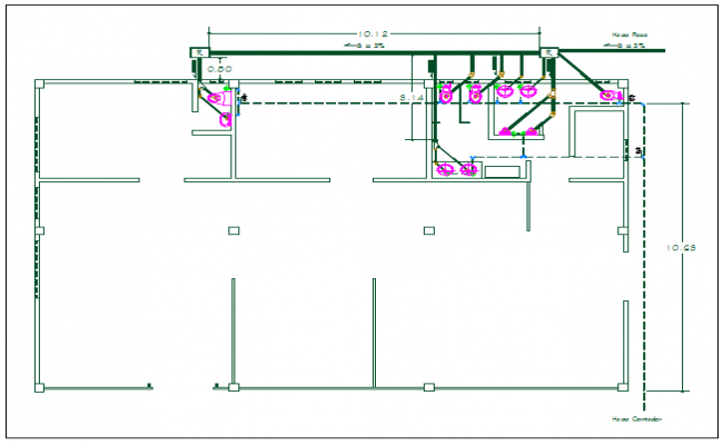 Office washroom sanitary and plumbing water pipeline detail dwg file