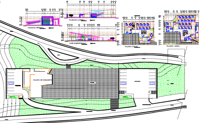 Office working plan detail dwg file