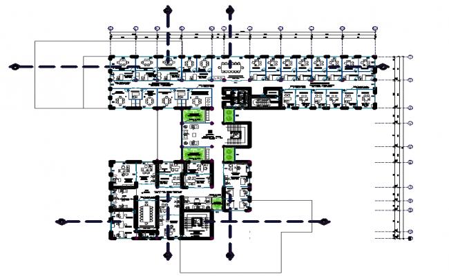 Office working plan detail dwg file