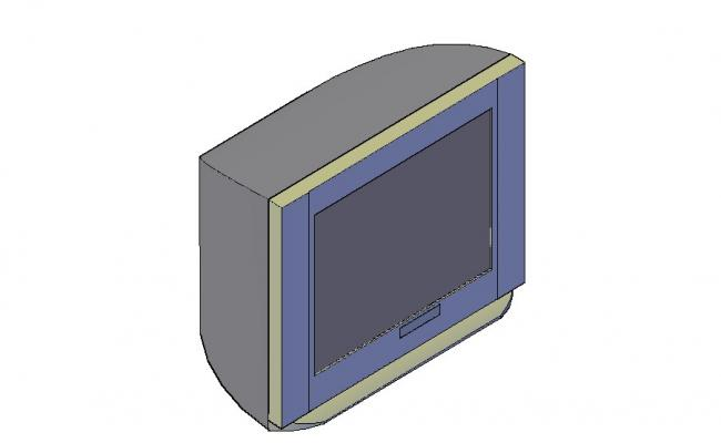 Old fashion television 3d block cad drawing details dwg file