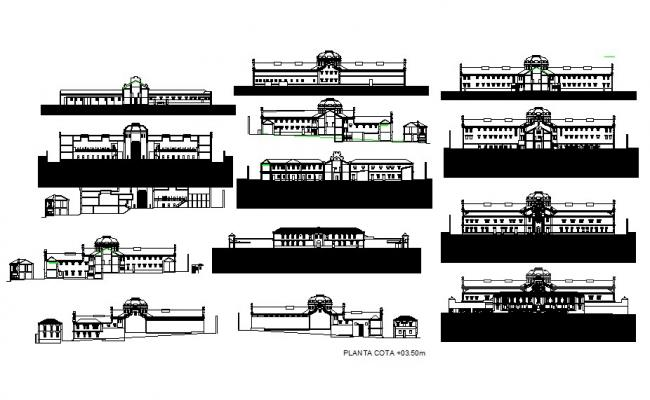 Old provincial prison Coruna all sided elevation and auto-cad details dwg file