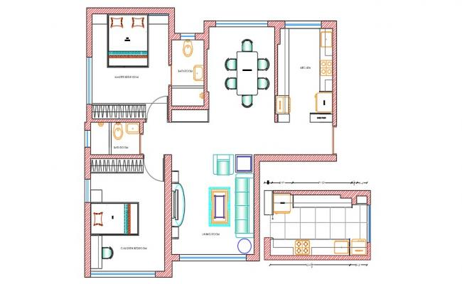 One BHK Fully Furnished House Architecture Plan