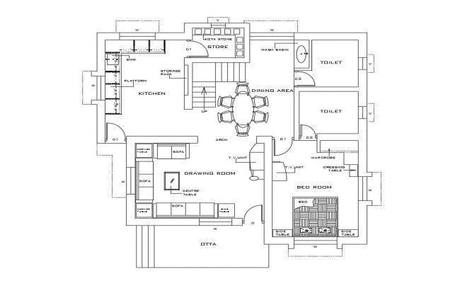One BHK House Furniture Layout AutoCAD Drawing