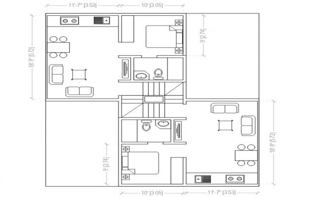 One Bedroom Apartments Plan DWG File