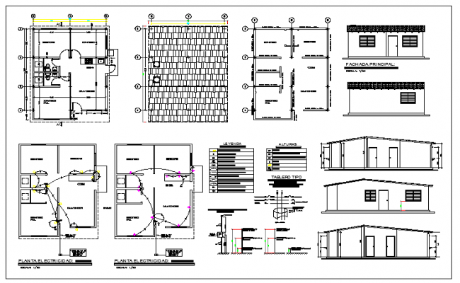 One Family House Metal Structure Elevation Dwg File