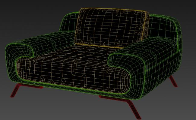 One Seater Sofa With Basic Rendered In 3D MAX File Free Download