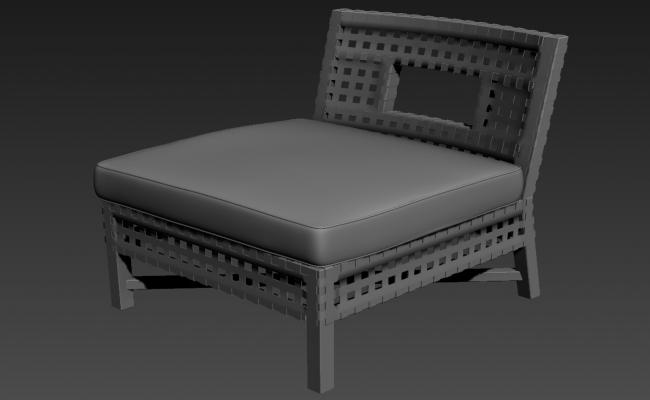 One Seater Sofa With Old Style 3D MAX File Free