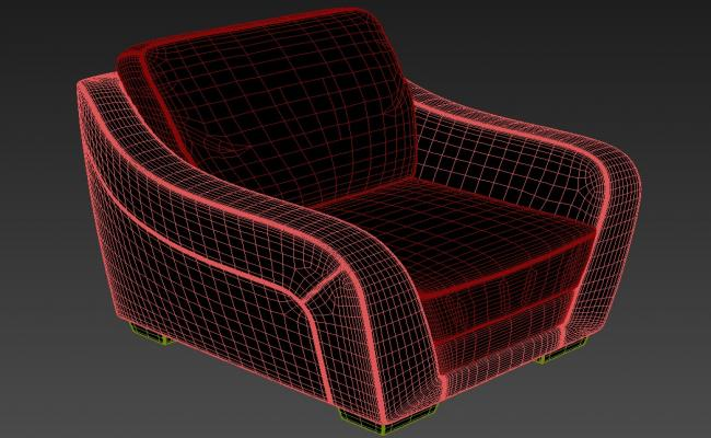 One Seater Sofa With Old Style 3D MAX File Free Download