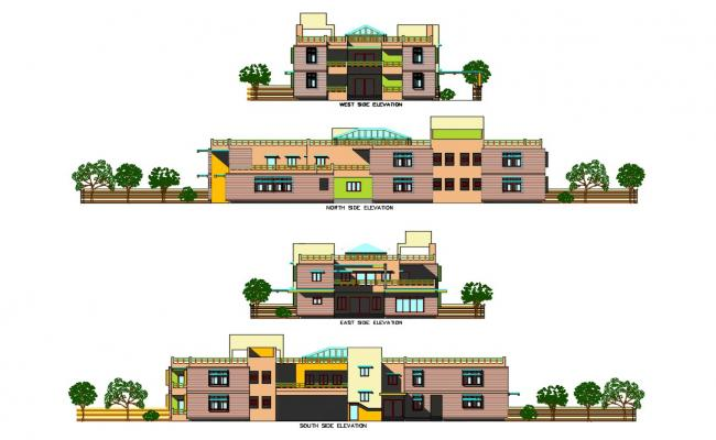 One family bungalow all sided elevation cad drawing details dwg file