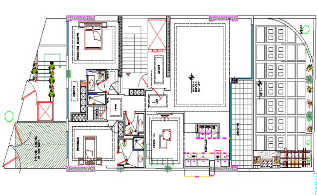 One family bungalow architecture layout plan dwg file