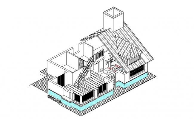 One family bungalow isometric elevation cad drawing details dwg file