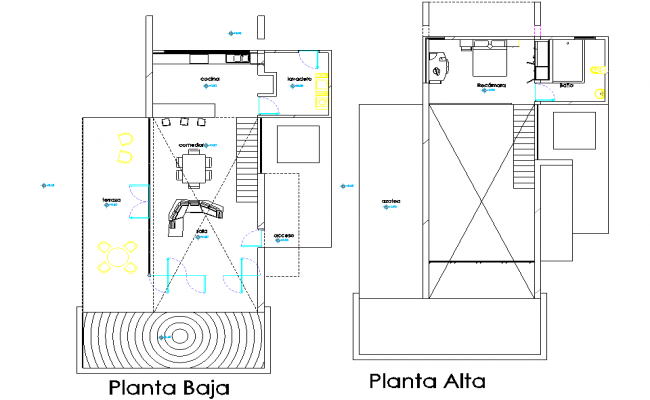 One family house 3 d complete with furniture plan detail