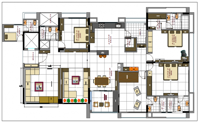 One family house architecture layout plan details dwg file