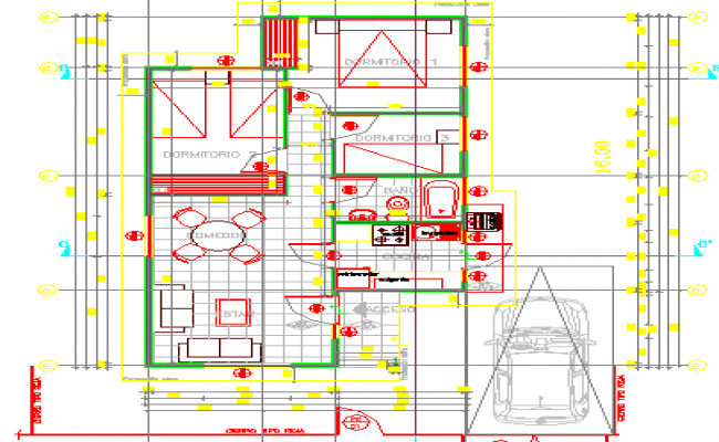 One family house architecture layout plan dwg file
