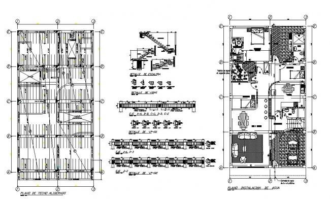 One family house constructive structure and layout plan cad drawing details dwg file