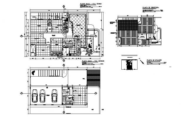 One family house distribution plan and cover plan cad drawing details dwg file