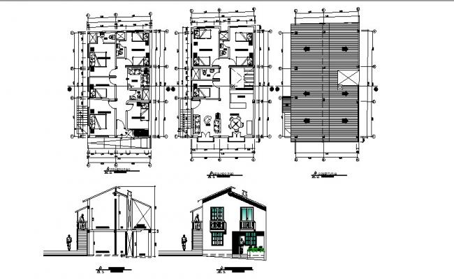 One family house elevation, section, floor plan and cover plan details dwg file