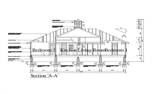 One family house main constructive sectional details dwg file