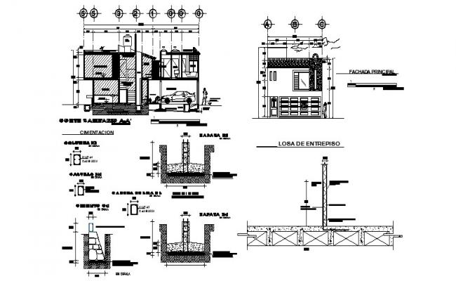 One family house main elevation, section and column construction details dwg file