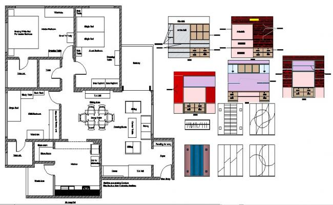 One family house plan and furniture layout and car pantry details dwg file