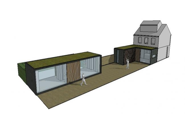 One family house with cabin 3d model cad drawing details skp file