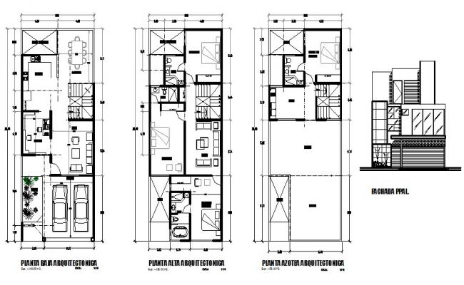 One family housing two story detailed architecture project dwg file