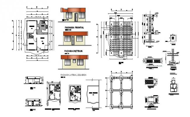 One family single story house detailed architecture project dwg file
