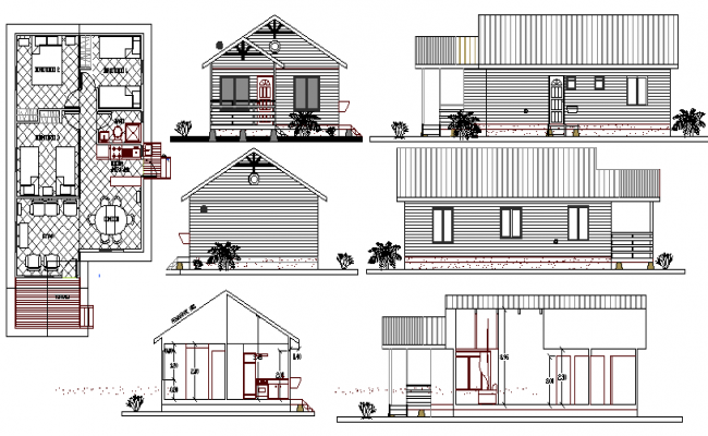 One level single family house architecture project dwg file