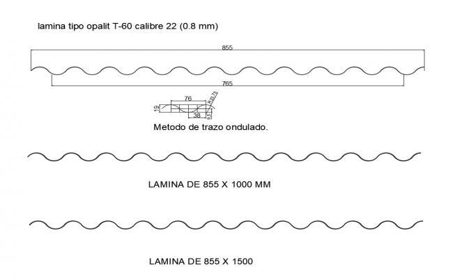 Opal type laminate design cad drawing details dwg file