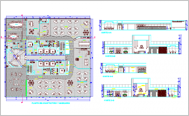 Open plan for office building with different axis section view dwg file