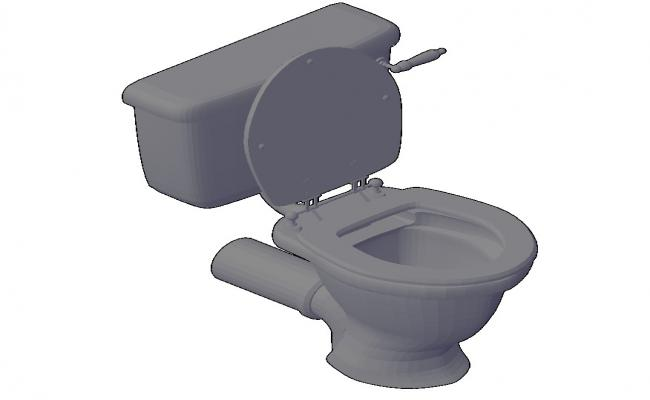 Open sanitary toilet detail 3d model CAD blocks layout autocad file