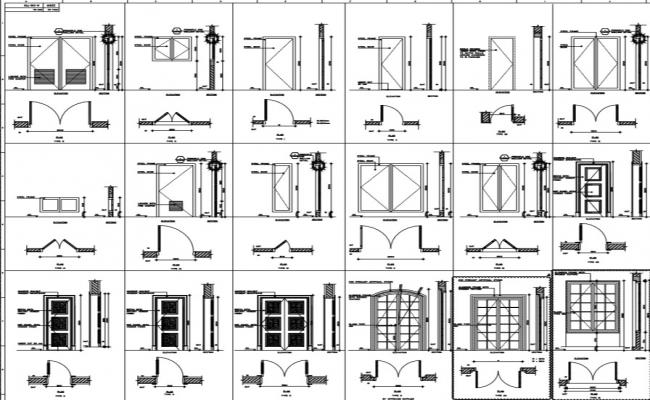 Openings Or Door Types And Detail Drawing