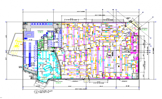 Out line of pharmacy area view dwg file