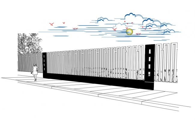 Outdoor perimeter fence elevation cad drawing details dwg file
