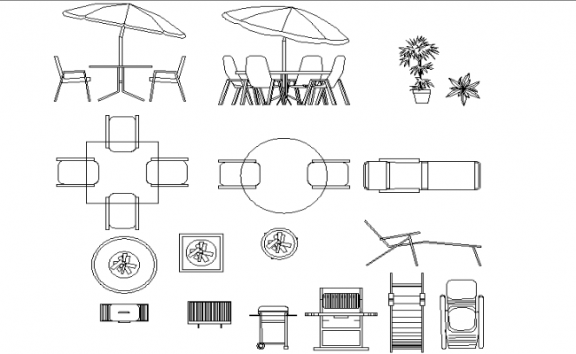 Outdoor table and chair dwg file