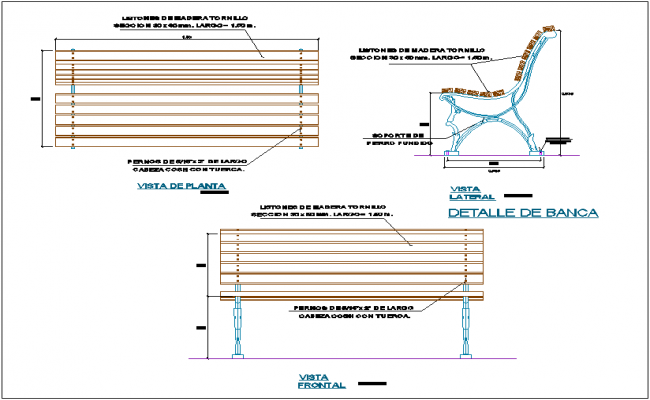 Outdoor wooden seating bench detail dwg file
