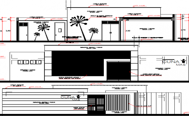 Outer building design of school dwg file