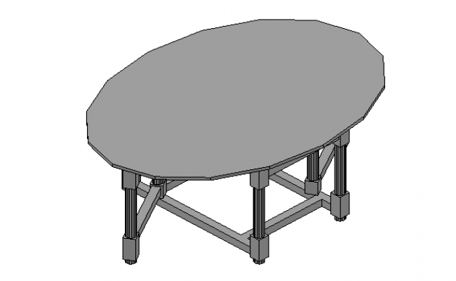 Oval dining table 3d