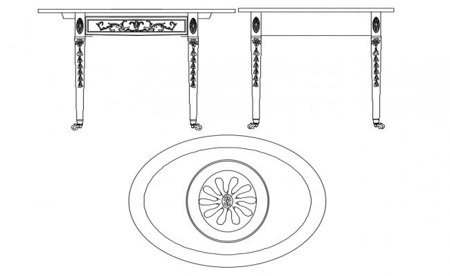 Oval shape table block plan and elevation with furniture view dwg file