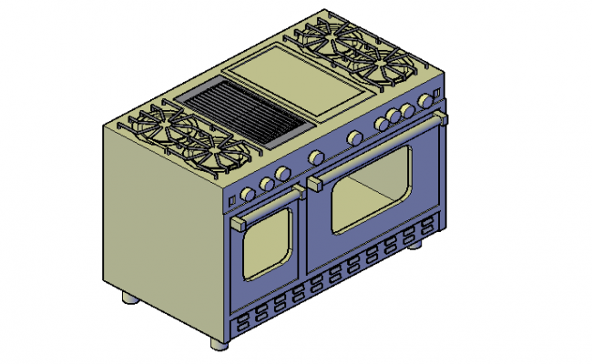 Oven range with griddle 3d
