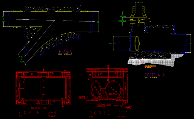 P-trap plan and section layout file