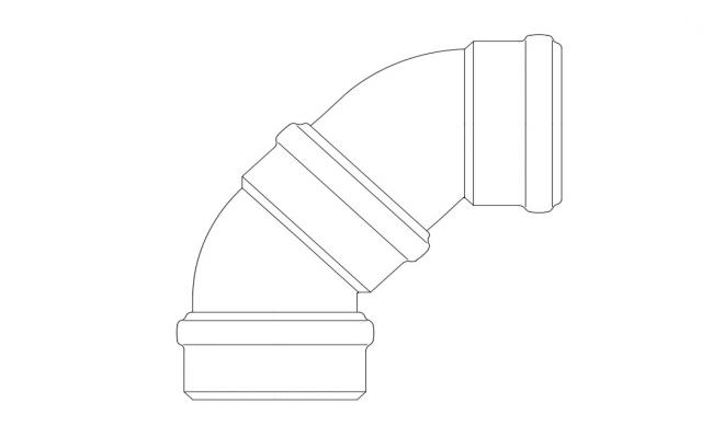 PVC Pipe Elbow CAD Drawing