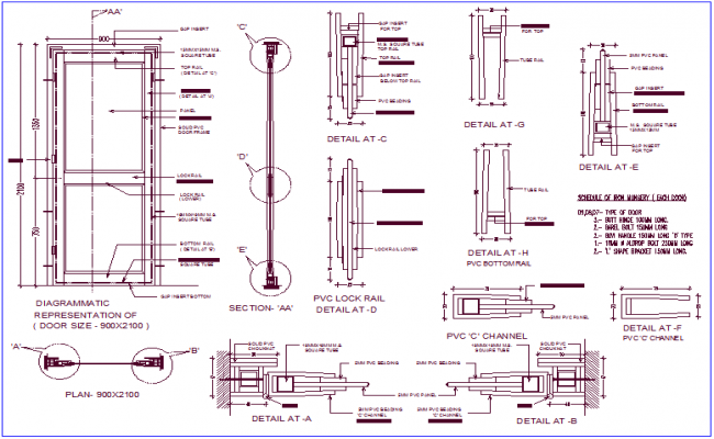 Pvc Window Section : Pvc door design with section view dwg file