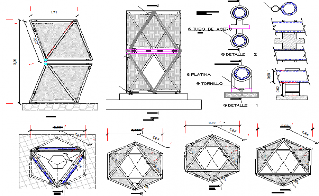 PVC pipes and fabric module details dwg file