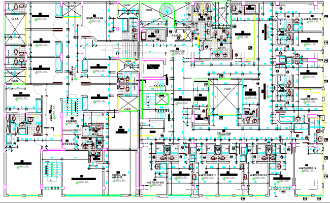 Pacific clinic health center architecture layout plan dwg file