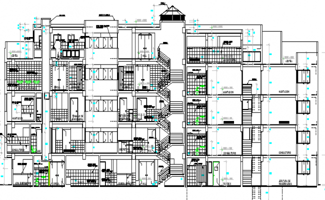 Pacific clinic health center architecture sectional view dwg file