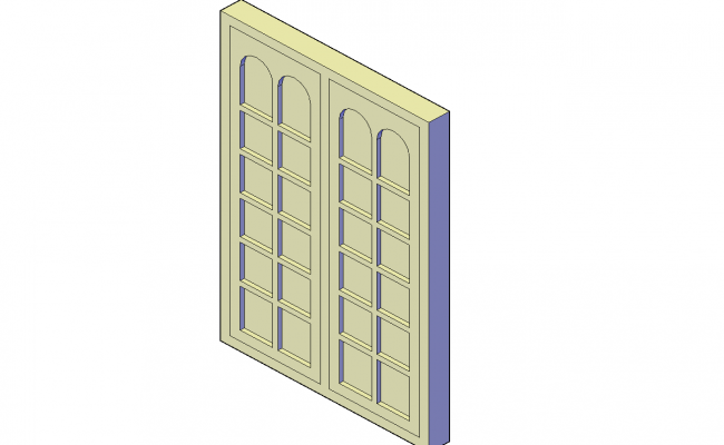 Panelled window plan detail dwg file.