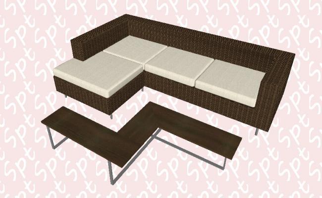 Para sofa exterior 3d block cad drawing details skp file
