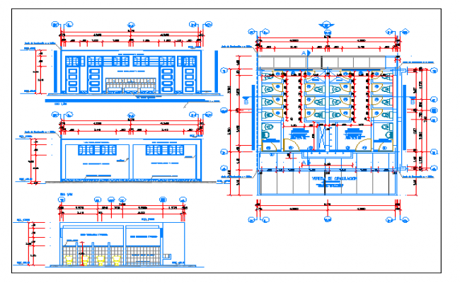 Paradise school all sided elevation and sanitary installation details dwg file